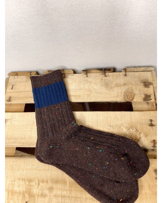 CALCETINES TWEED BICOLOR CHOCOLATE MARINO
